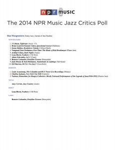 Bloch - Dan Morgenstern NPR Jazz Critics Poll 2014